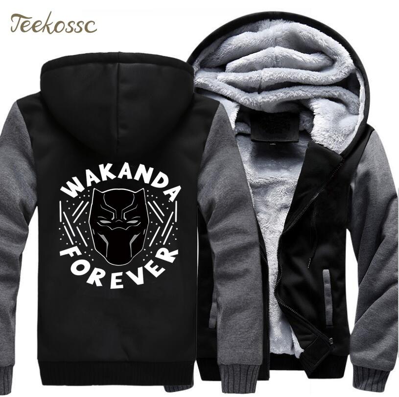 Black Panther Wakanda Foreven Hoodie Men Movie Hooded Sweatshirt Killmonger Coat 2018 Winter Fleece Thick Graphics Cool Jacket