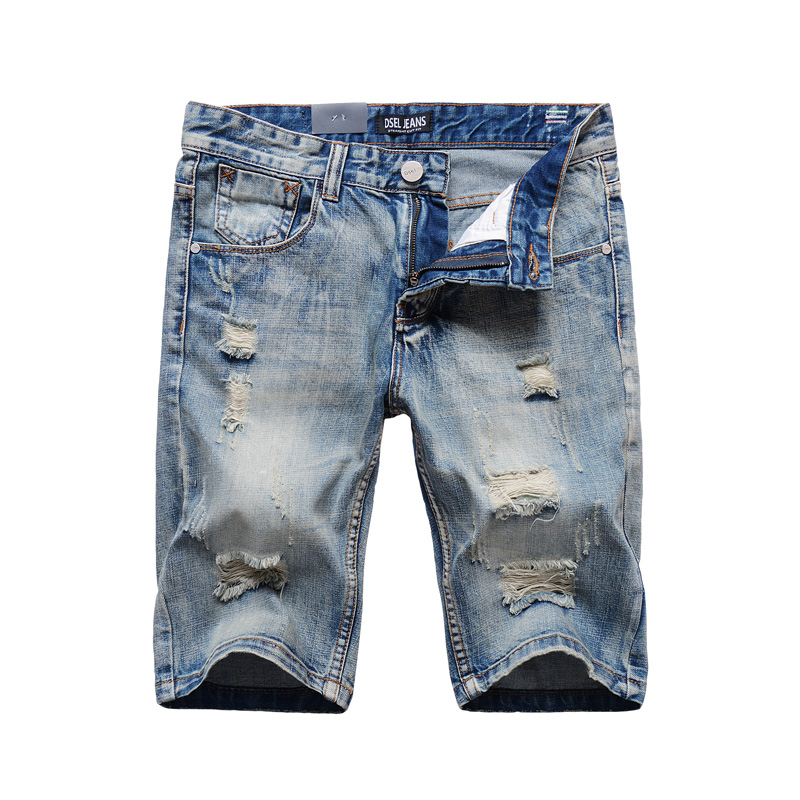 Summer Style Fashion Mens Short Jeans Frayed Hole Ripped Jeans Men Denim Shorts DSEL Brand Knee Length Designer Jeans Shorts цена 2016