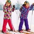 Зима-30 Градусов Дети Верхняя Одежда Спортивные Теплые Наборы Утолщенной Водонепроницаемый Ветрозащитный Дети Лыжный Костюм Мальчики Девочки Пальто Для 5-16 Т