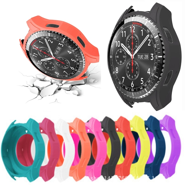 official photos 58935 67dc6 US $2.03 25% OFF|Silicone Wearable Protective Case Housing Frame Waterproof  For Samsung Gear S3 Frontier Sport Watch Replacement Soft Cover Shell-in ...