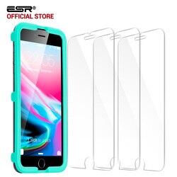 아이폰 8/8 플러스, ESR 3 팩 배 강한 강화 유리 보호 어플리케이터 iPhone8 8 플러스 7 7 플러스