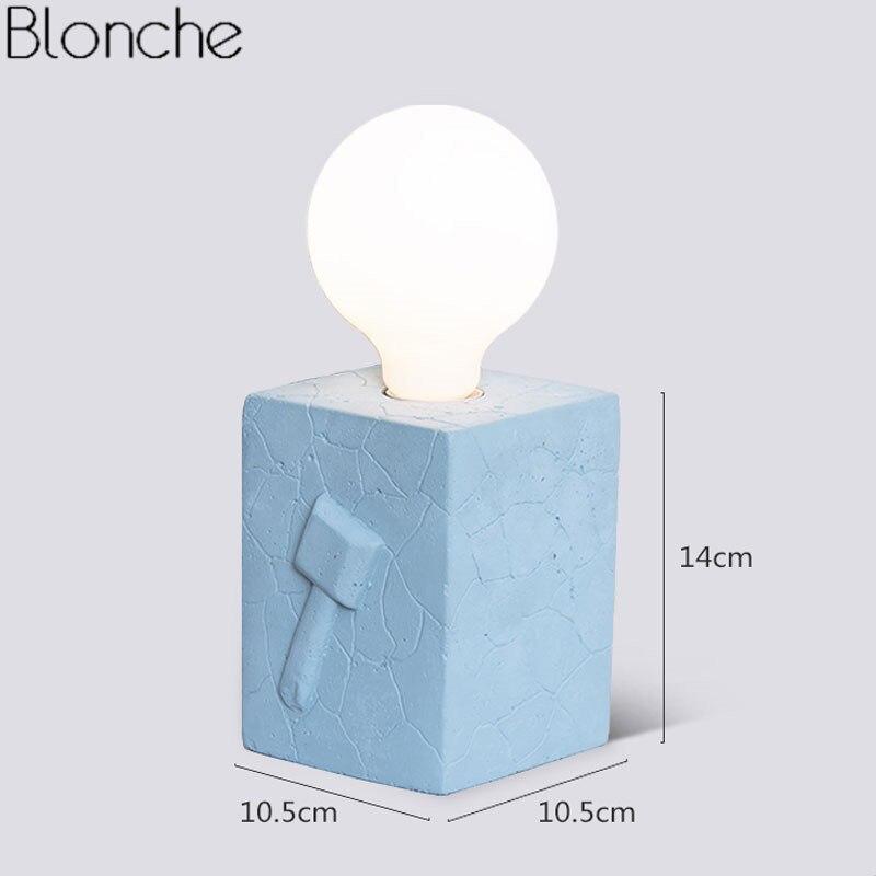 Lampe de Table Led moderne lampe de bureau créative en ciment lampe de lit pour la lecture étude décor à la maison lampe de chevet colorée E27 Luminaire Loft - 3