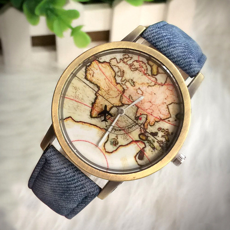 Women Watch Fashion Vintage Belt Men Quartz Watch Unisex Map Airplane Travel Around The World Wrist Watch Horloge Dames Relogios image