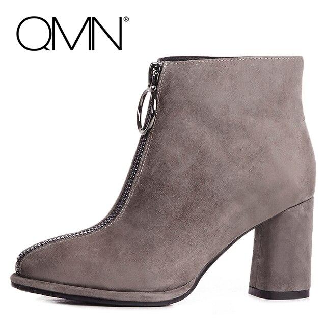 QMN женщин неподдельной кожи ботильоны Для Женщин Натуральной Замши Сексуальная Мода Сапоги Передняя Молния Женской Обуви Зимние Сапоги Botas