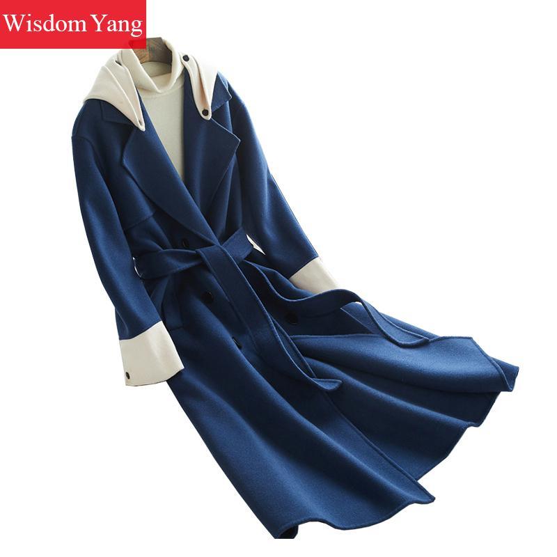 Oversize Bleu Blue Laine Casual Survêtement Capuchon Blanc Élégant À Dames Coréennes Hiver Mouton Pardessus De Chaud Coat Manteaux Manteau Automne Femmes qawtHw64