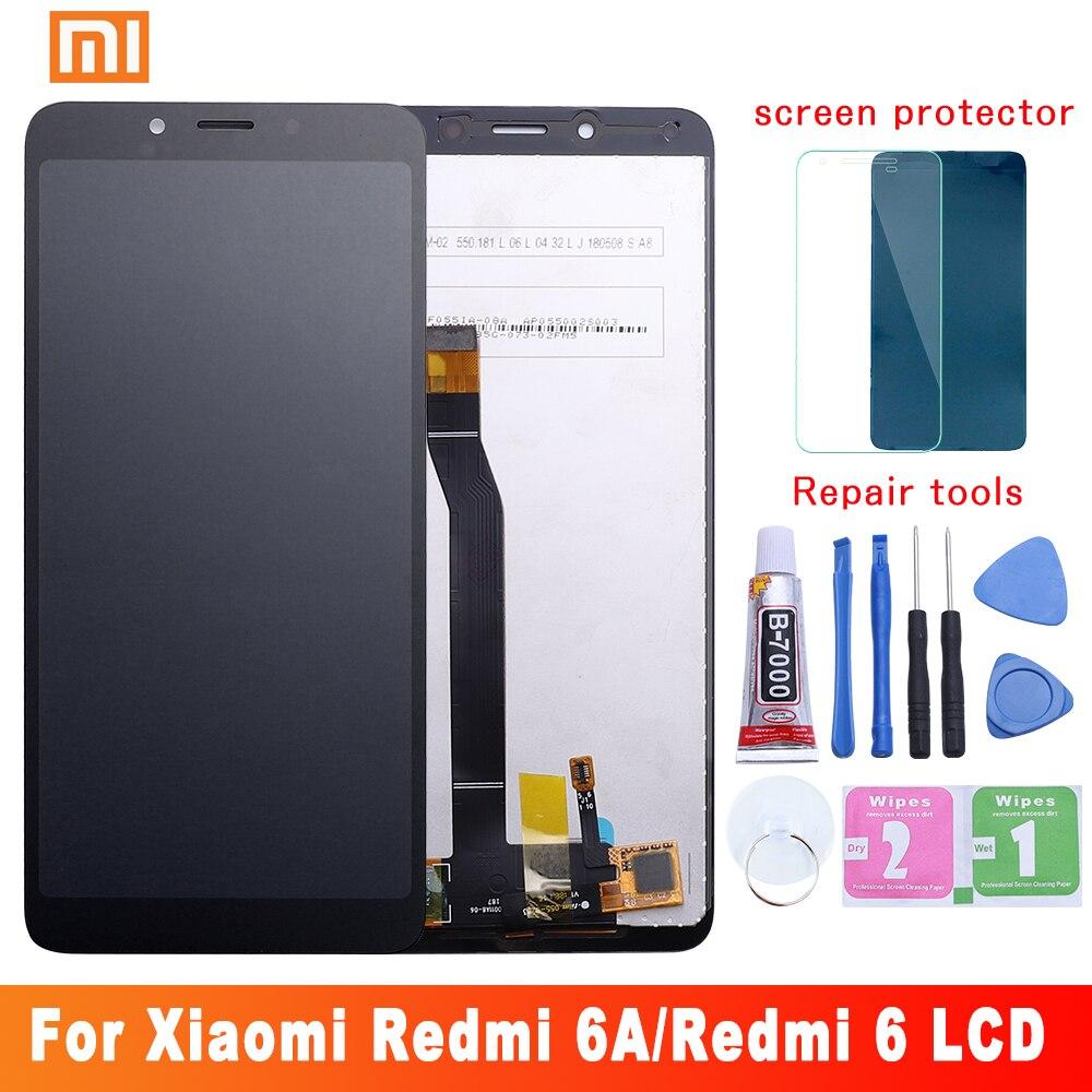 Orijinal Xiaomi Redmi için 6A dokunmatik LCD ekran ekran çerçeve ile LCD Digitizer Redmi 6 ekran montaj onarım parçaları 10