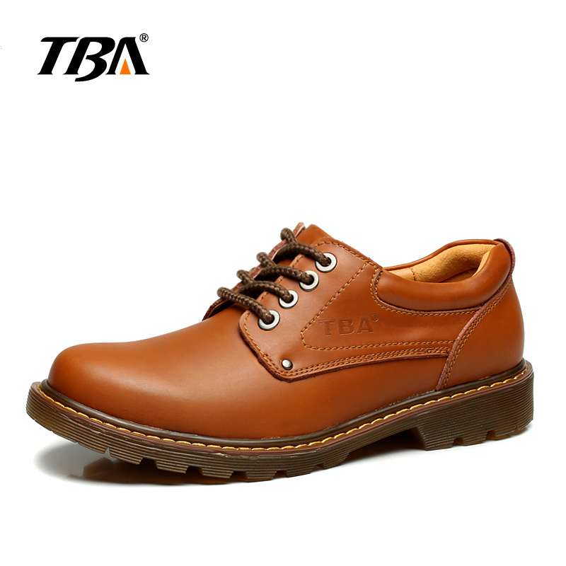 TBA Chinese Brand Men Real Cow Leather Casual Shoes TPR size 39-44 EUR Yellow Brown/Dark Brown Colors TBA NO8065 casual waterproof boot silicone shoes cover w reflective tape for men black eur size 44 pair