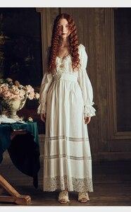 Image 5 - Bayan gecelik Retro zarif gecelikler Vintage kadınlar dantel beyaz pijama elbise pamuk uzun kollu gecelik Gentlewoman
