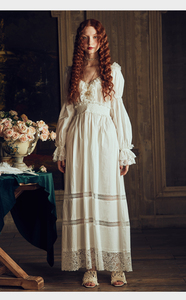 Image 5 - Lady Nightgown Retro Elegant Nightgowns ผู้หญิงวินเทจ Lace ชุดนอนชุดนอนสีขาวผ้าฝ้ายแขนยาว Nightdress Gentlewoman