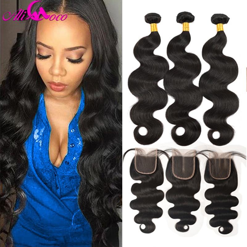 Ali Coco Hair Brazil hajvessző csomók záró test hullám csomók - Emberi haj (fekete)