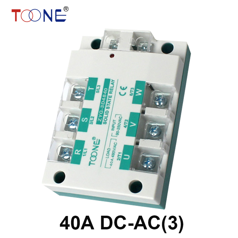 ZYG-3D4840 Free shipping 40A DC control AC SSR three phase Solid state relay normally open single phase solid state relay ssr mgr 1 d48120 120a control dc ac 24 480v