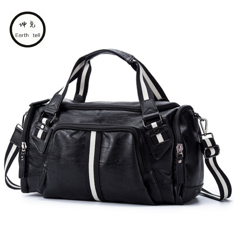 Earth tell PU Leather Men Travel Bags Overnight Duffel Weekend Handbag Luggage Large Tote Bags Leisure Business Laptop Crossbody earth tell черный medium43x33x105cm