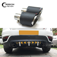 Muffler Tip Carbon Stainless Pipe 54mm Inlet 101mm Outlet Universal Car Auto Exhaust Tips Mufflers