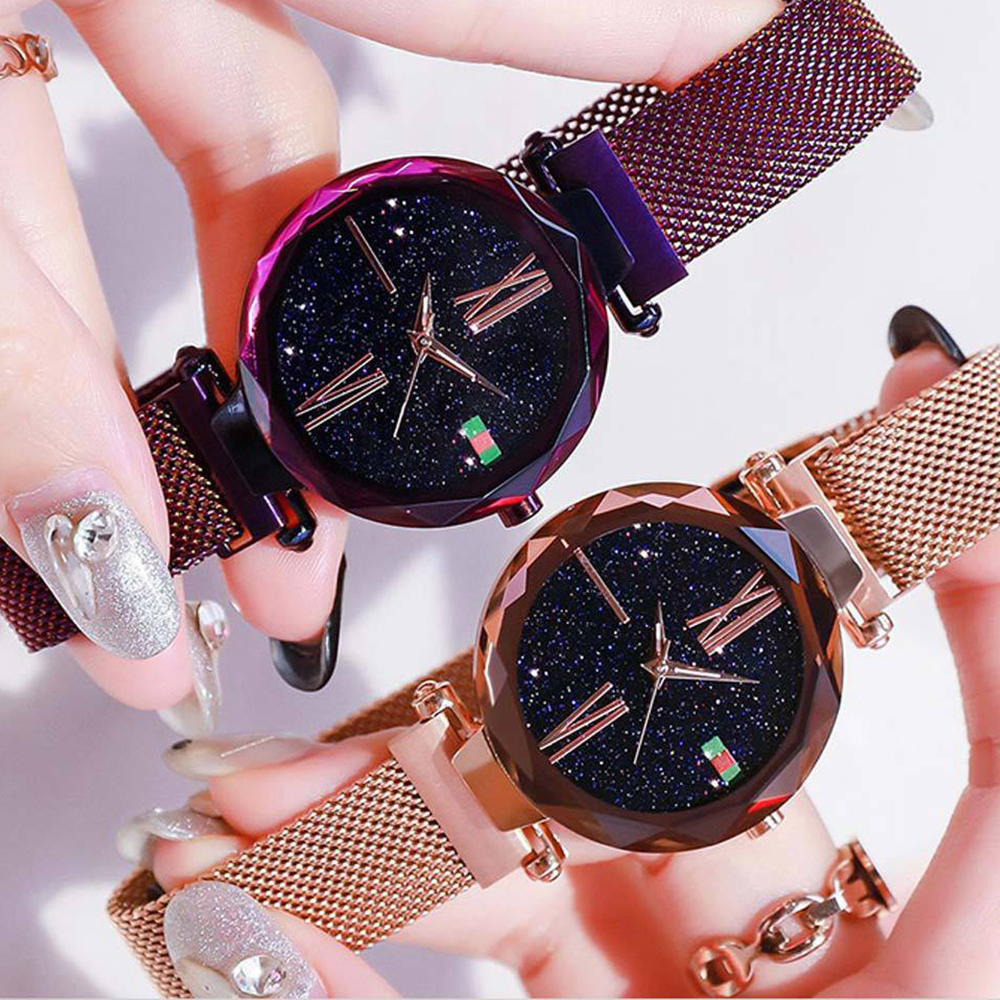 Luxury Rose Gold Women Watches Minimalism Starry sky Magnet Buckle Fashion Casual Female Wristwatch Waterproof Roman Numeral đồng hồ gucci dây nam châm