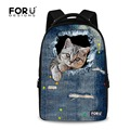 FORUDESIGNS Cute Animal Denim Cat Print Backpack for Teenage Girl Large Student Laptop Computer Backpack Women Children Rucksack