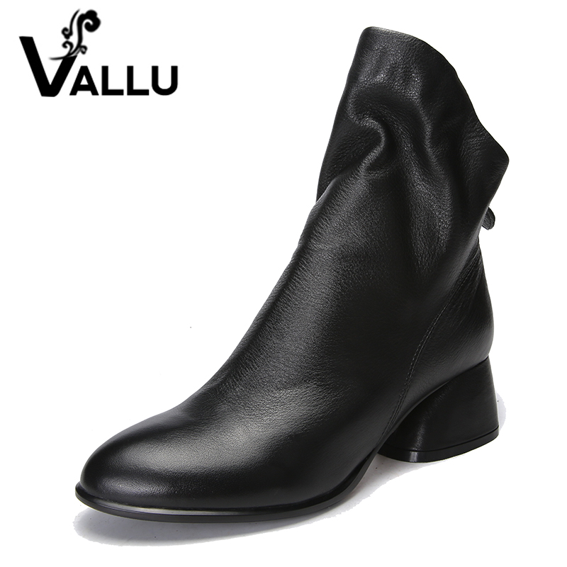 VALLU 2018 Genuine Leather Women Boots Round Toes Low Heels Pleated Natural Skin Ladies Shoes Ankle Boots Black Plus Size 41 draped pleated plus size tunic top