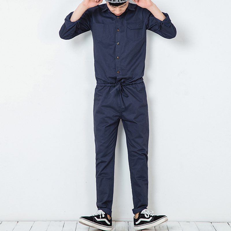 S-6XL!!! 2018 Jumpsuit male preppy style tooling slim fashion work wear jumpsuit Long-sleeved casual jumpsuits of big yards