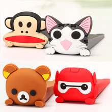 Home Decoration Shelf Cute Cartoon Silicone Door Stopper Kids Safety Finger Guard Home Protector Monkey Door Stops Holder(China)