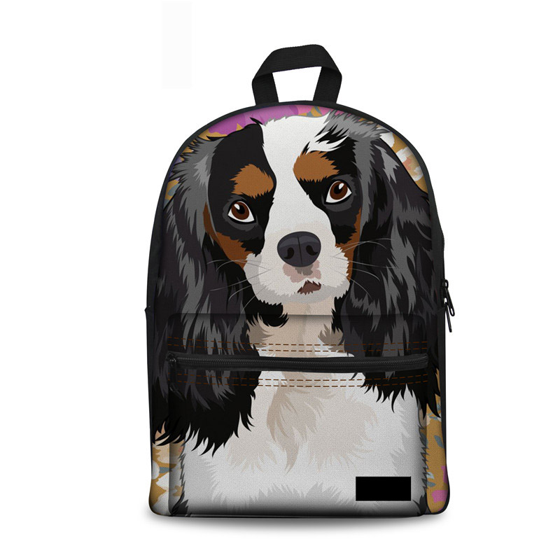 Noisydesigns Schoolbag Girls King Charles Spaniel Dog Lady School Bags Backpack Teenage Casual Kids Book Bag Mochilas Infantiles