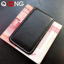 QOONG Laser Inscription Cowhide Money Clip Men's Leather Magnetic Slim Money Clip Wallet Credit Card ID Holder Pocket ML1-001