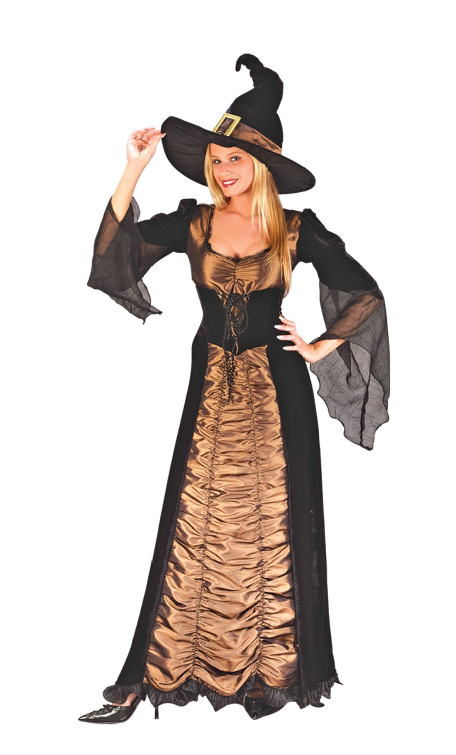 Sexy Brown Lllusion Folds Cosplay Witch Costume For Woman -4916