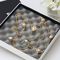 2015 Fashion  Long Chain Rhinestone Squre Simulated Pearl Necklace For Women Sweater Chain   X045