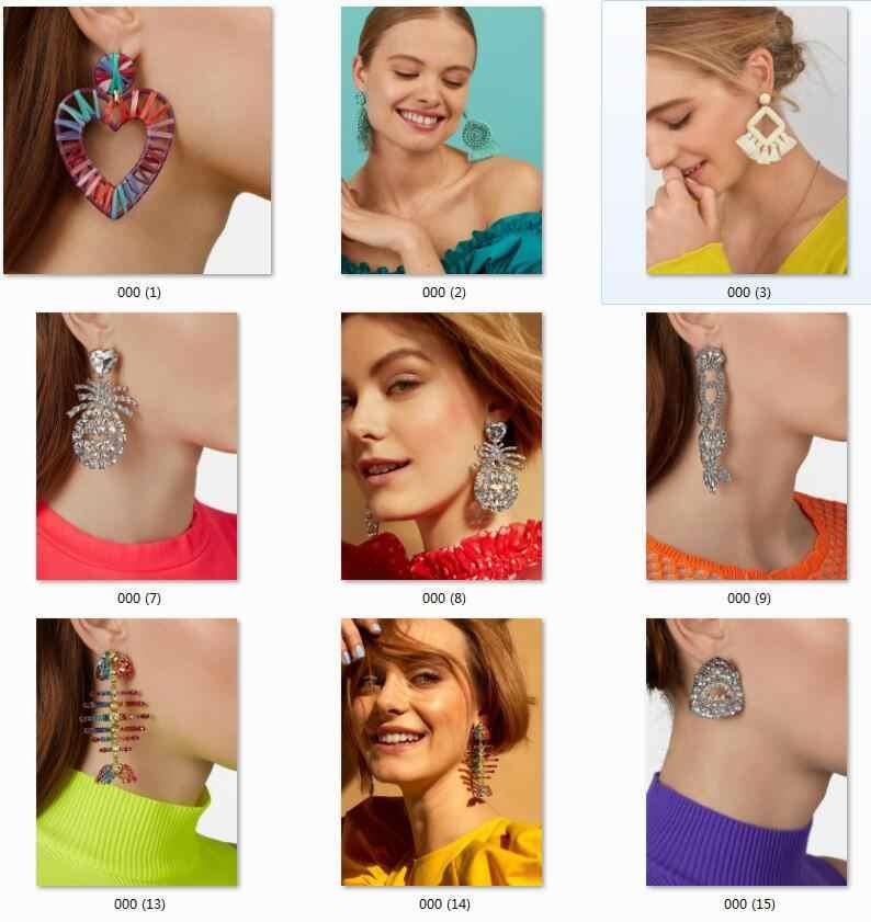 Dvacaman 2019 Trendy Bunte Kristall Fisch Ohrringe für Frauen Lange Tropfen Ohrringe Nigerian Strass Erklärung Schmuck Großhandel