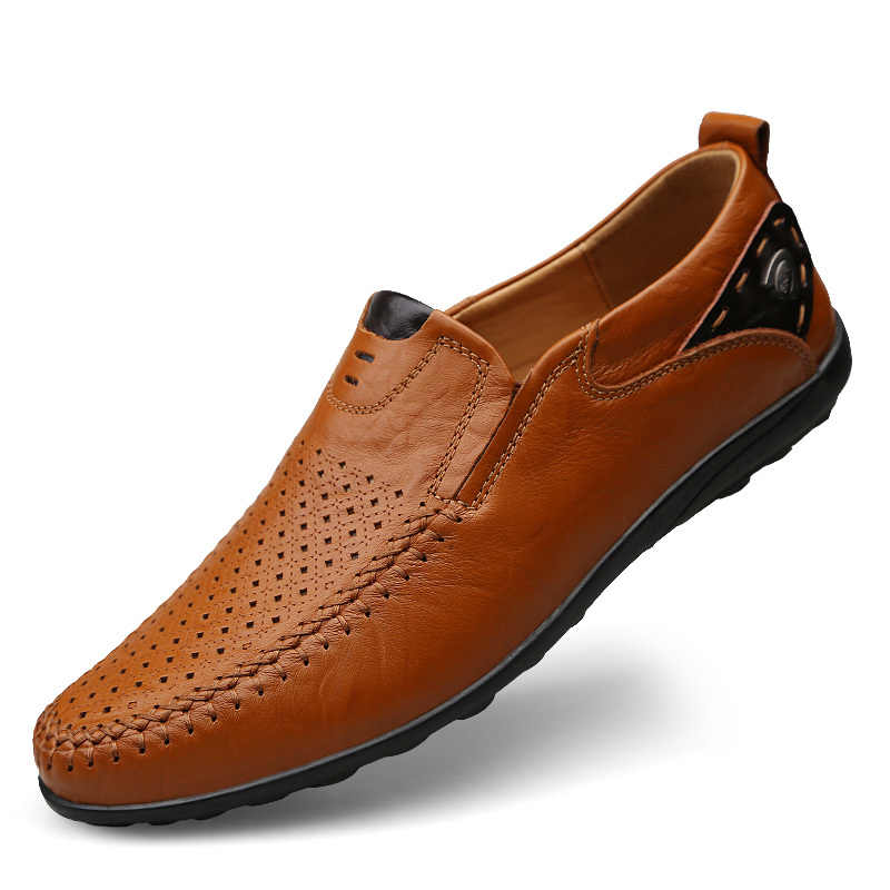 Luxe Designer Sneakers Mannen Lederen Schoenen Slip Op Mocassins Instappers Mannen Lederen Casual Schoenen Zomer Mode Big Size 46