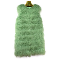Mongolia Sheep Fur Vests Women Fashion Small Curly Wool Natural fur jacket 2018 New Female Sleeveless long thick Warm Coats 269E