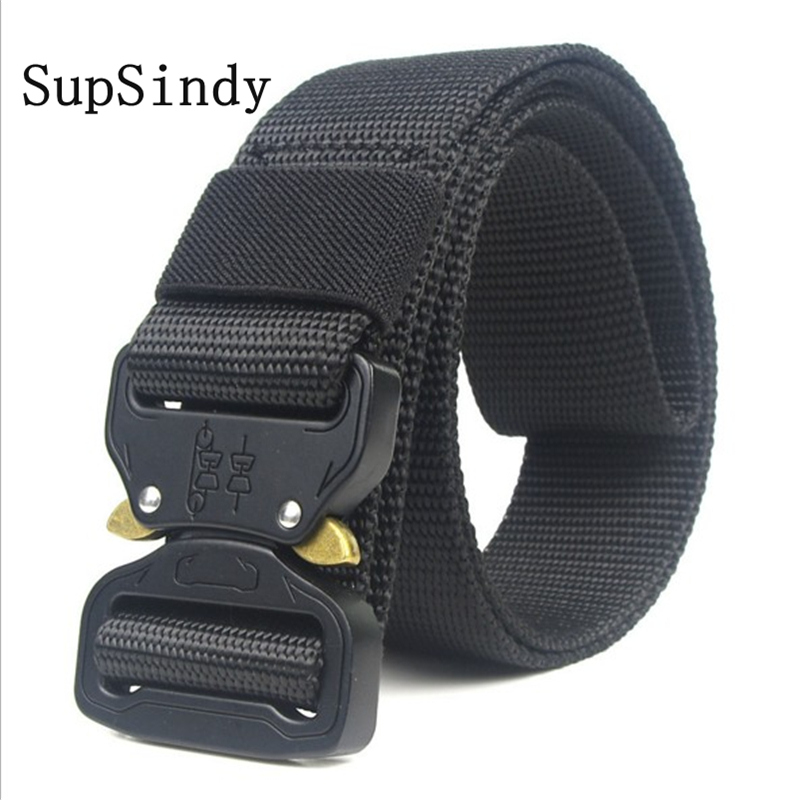 SupSindy 2018 New Army Style Combat   Belts   Quick Release Tactical   Belt   Fashion Men Canvas Waistband Outdoor Hunting high quality