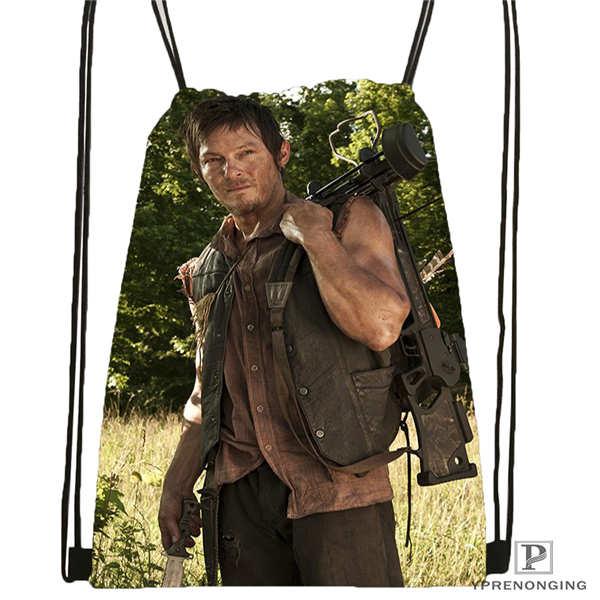 Custom Daryl-Dixon-The-Walking-Dead Drawstring Backpack Bag Cute Daypack Kids Satchel (Black Back) 31x40cm#180611-01-41