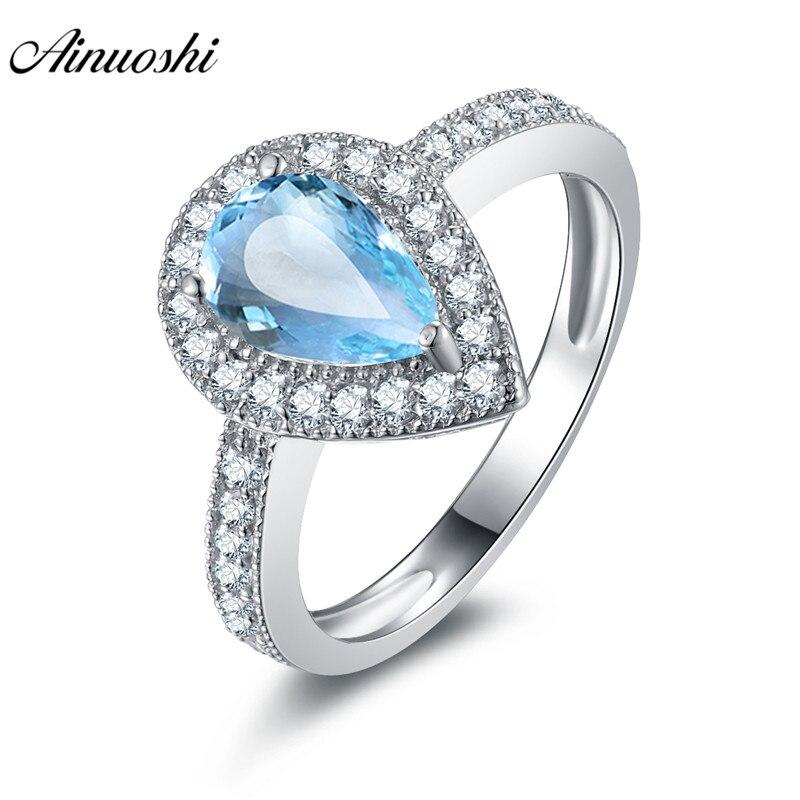 AINUOSHI naturel bleu topaze goutte d'eau Halo anneau 1.5ct taille ronde gemmes 925 bague en argent Sterling bijoux de fiançailles bague de mariage