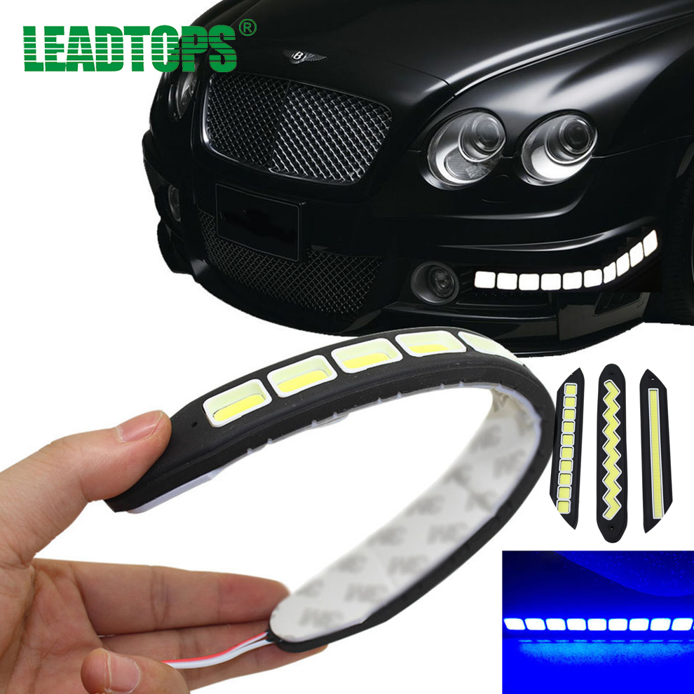 2Pcs COB LEDs DRL Daytime Running Light Waterproof Day Time Working Lights LED Turn Signal DRL Driving Lamp For All Car BH