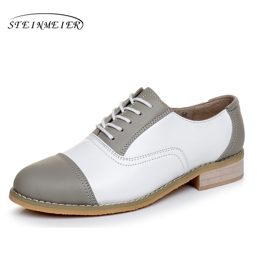 woman vintage oxford shoes round toe genuine leather US 11 designer handmade lace up flats grey white oxford shoes for women lovexss oxford shoes 2017 spring autumn toe lace up white woman flats genuine leather derby shoes women big size 33 42 oxfords