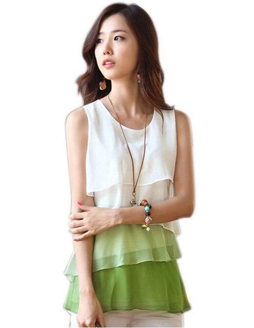8cf7ea249 MYTL 2016 Korean Multi-layered Shirts Women Tops Summer Blouse Sleeveless  Vest Chiffon Shirts Cheap
