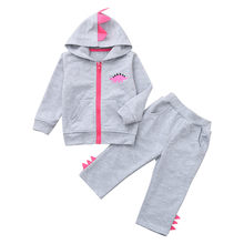 Toddler Baby Kids Boy Girl Dinosaur Zip Cotton Soft Hoodie Sweatshirt Tops + Pants Set Clothes 2019 New(China)