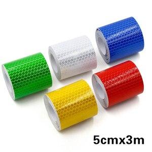 Image 1 - Auto Auto Stickers 3M * 5 Cm Decal Waarschuwing Tape Reflecterende Strips Auto Styling Lijm Honingraat Veiligheid Mark auto Veiligheid Producten