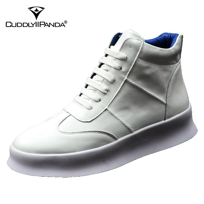 CuddlyIIPanda New Luxury Brand Men Fashion High Top Sneakers Spring Autumn Casual High Shoes Men Leather Boots Microfiber Shoes