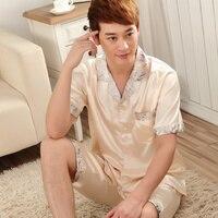 Thin Men Silk Pajamas Male Short Sleeve Summer Pullover Plus Size Brand Sleepwear