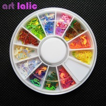 cute slice musical note 3d nail art tip decals decorations for nails diy round box 12 colors EQ1518