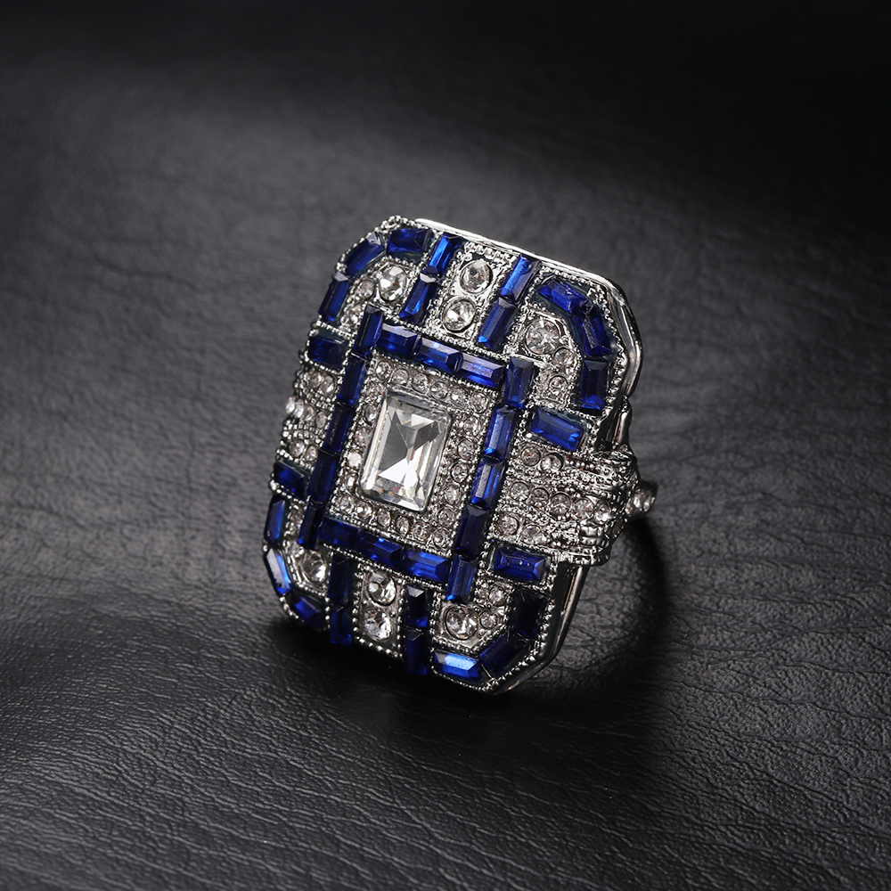 1 PCS Antique Art Deco Large 925 Sterling Silver Blue   Ring Women Men  Anniversary Proposal Gift Jewelry-in Rings from Jewelry   Accessories on ... 222c656fa5fb