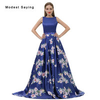 Romantic Royal Blue A Line Beaded Floral Print Evening Dresses 2017 Formal Engagement Party Prom Gowns