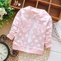 2016 spring kids children baby girls Cardigan, Long Sleeve Dot Polka, bow Outwear, Coat Jackets S0959