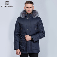CITY CLASS New Men Casual T Stand Collar With Removable Silver Fox Hat Free Shipping