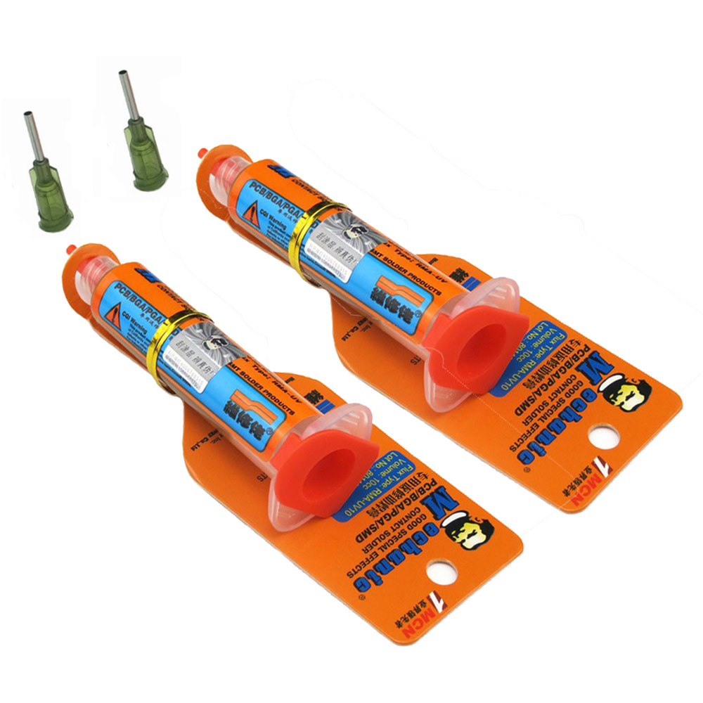 2 pcs/lot Mécanicien RMA-UV10 10cc Souder coller Flux pour fer À Souder BGA station de soudure Étain Crème BGA flux avec aiguilles