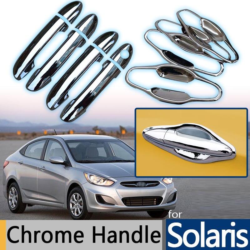 Prix pour Pour Hyundai Solaris Accent Verna 2010-2015 Chrome Garniture Poignée De Porte Couvre 2011 2012 2013 2014 Hayon Accessoires De Voiture style