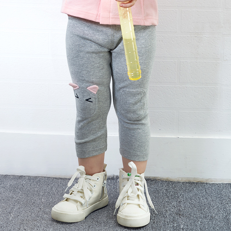 Yingzifang Hot Sale Special Offer 2017 Autumn Girls Baby Elastic Waist Solid Pencil Pants Cartoon Soft All-Matched Leggings