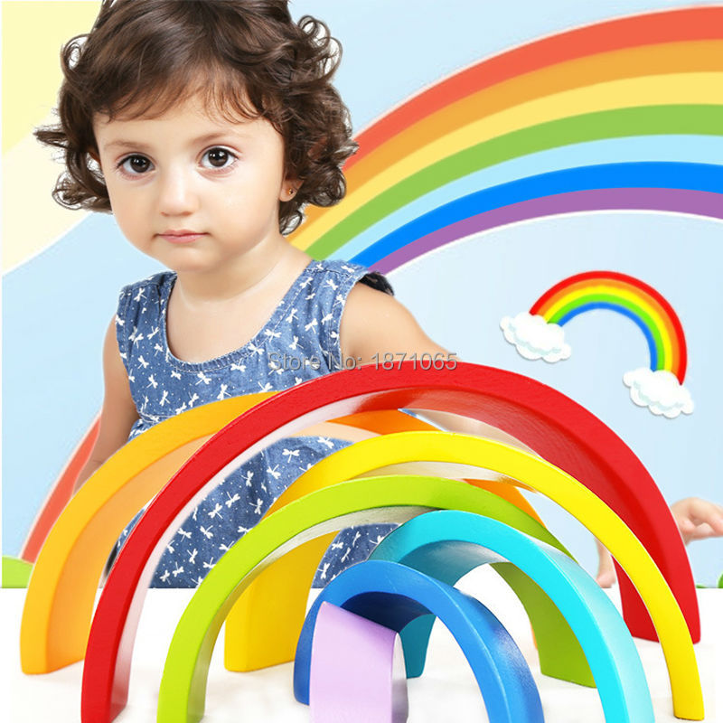 7Pcs/set Funny Rainbow Block Toys Wooden Blocks Circle Set Baby Colour Sort Play Game Gift Toy For Kids Free Shipping