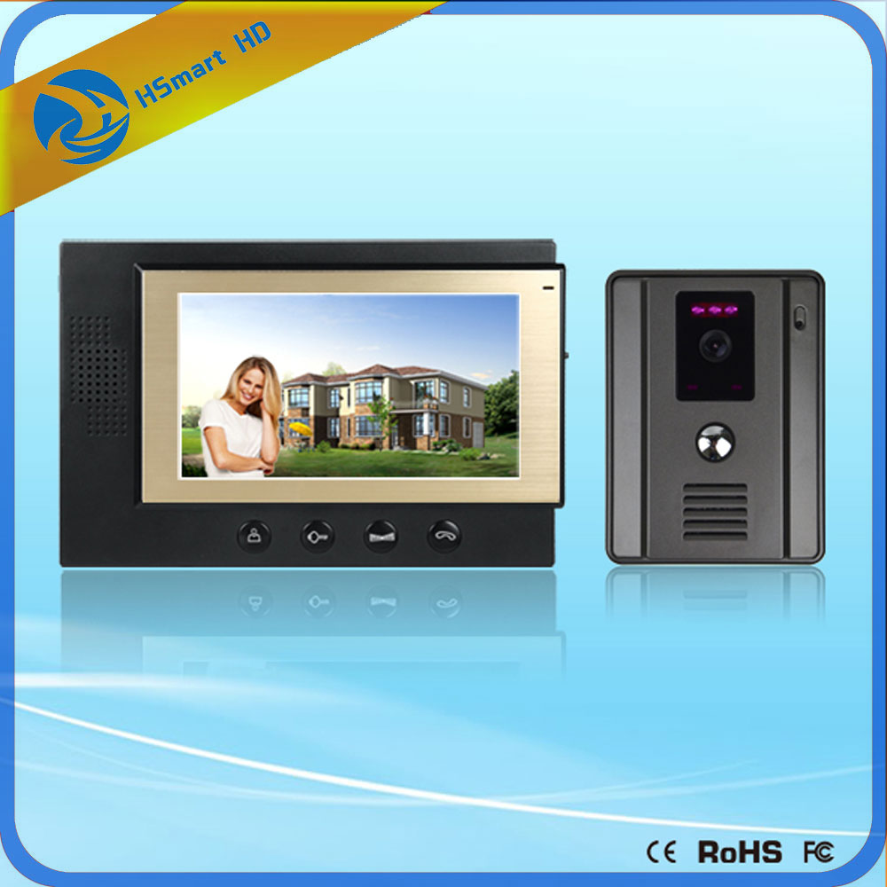 Home Security 7 inch Monitor Video Door Phone Video Doorbell Intercom System Outdoor Waterproof Camera With Night Vision yobang security free ship 7 video doorbell camera video intercom system rainproof video door camera home security tft monitor