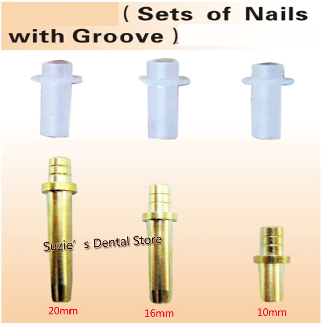 950sets High Quality Dental Laboratory Material Brass Dowel Pin with Sleeve - 3 Length Long Medium Short 20MM 16MM 10MM